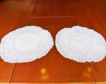 Pair of white vintage mats with damask centres & hand knitted lace edging, dressing table, romantic, doilies