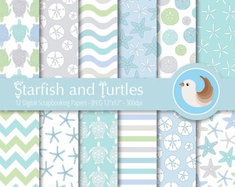 Starfish Digital Paper Set - Turtle Digital Paper - Beach Digital Paper - Sea Digital Paper - Set of 12 Digital Scrapbooking Papers