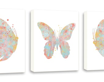Butterfly Art - Watercolor Butterflies - Girls Wall Art - Set of Three Gallery Wrapped Canvases - BS3C