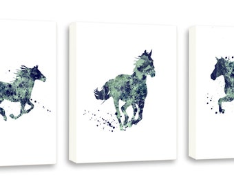 Contemporary Horse Watercolor Art - Equestrian Decor - Horse Gift - Set of Three Gallery Wrapped Canvases