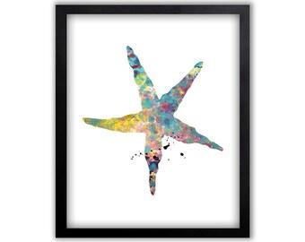 Starfish Art, Watercolor Wall Art, Contemporary Painting, Bathroom Decor, Limited Edition Art Print - NS4002P