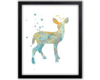 Deer Art, Deer Painting, Girls Room Art, Childrens art, Limited Edition Art Print - WS24001P