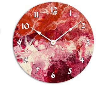 Contemporary abstract fluid acrylic painting design 10 inch wall clock. Full of red, white and cranberry colors. CL3241