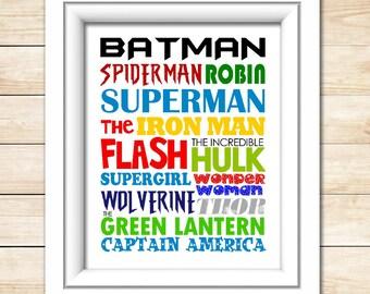 Superhero Subway Art - 8x10 Superhero Print - Superhero Wall Art - Super Hero Art Print - Digital - Printable
