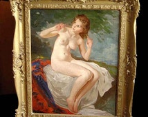 Szantho Maria Seated Female Nude Oil Painting Young Beautiful Girl