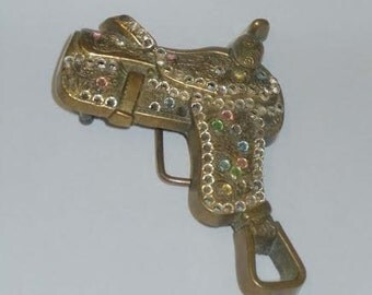 1979 Brass Cowboy Cowgirl Rhinestone Saddle Baron Belt Buckle