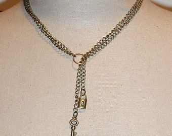 Antique Gold Brass Bronze Double chain Ring of O Lariat Y submissive Day Collar Necklace with Lock and Key Charms