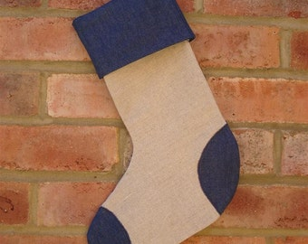 Linen and Denim Christmas Stocking