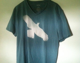 Upcycled Adult Express V-Neck shirt Hawk Bleach Design