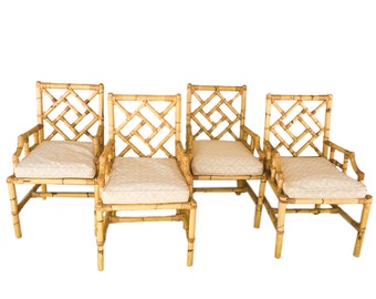 Four Vintage  Bamboo Chinese Chippendale Arm Chairs