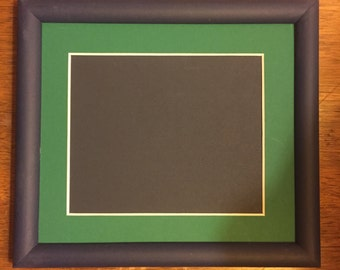 """Navy Blue with Bright Green Matte Finished Custom Matted Frame 6 1/2"""" x 7 1/2"""""""
