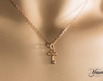 Key in rose gold-plated silver