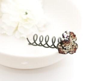 On Sale Black Friday Brown Rhinestone FlowerHair Clip Hair SPIRALS TWISTY hair pins