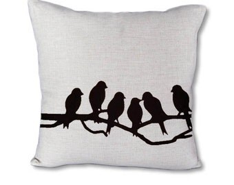 Birds On Branch - Pillow cover on Canvas/linen