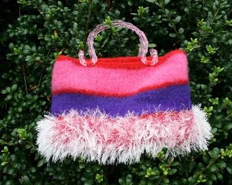Knitted Felted Handmade Handbag Pink, Purple and Fur Yarns, Acrylic Handles