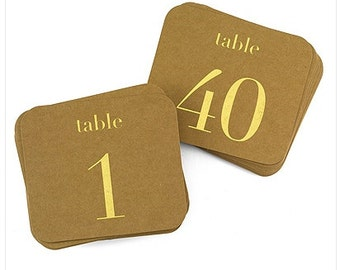 Rustic Wedding Kraft Table Number Card Set (Numbered 1-40) Table Numbers