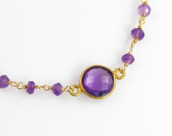 Delicate Purple Amethyst Quartz Gemstone Bracelet with an Amethyst and Vermeil Chain
