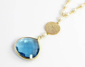 Blue Quartz Pendant Necklace with Pearl Chain and Pave CZ Accents
