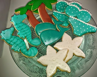 Beach themed cookie set- 1 dozen- Starfish, Seahorse, Bikini top, Bikini bottom, Palm Tree