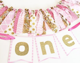 Pink and Gold First Birthday High Chair Banner Cake Smash Set - FULLY CUSTOMIZABLE