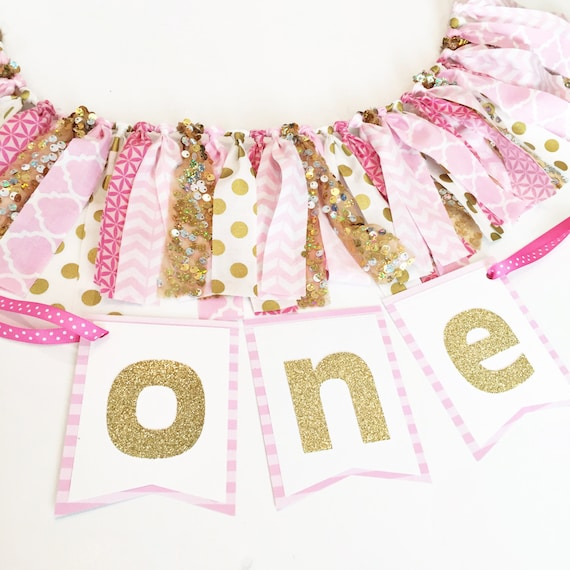 Pink And Gold First Birthday High Chair Banner By