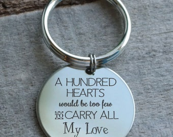 A Hundred Hearts to Carry Love Personalized Key Chain - Engraved