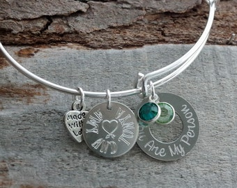 You Are My Person Personalized Adjustable Wire Bangle Bracelet