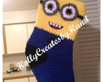 Crocheted Christmas Minion Stocking 17""