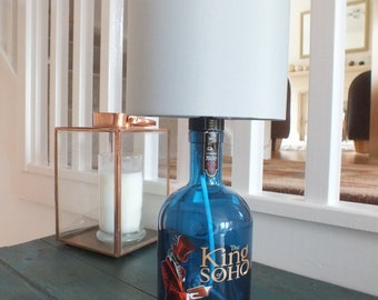 The King of Soho London Dry Gin Bottle (up cycled) Lamp + Lampshade