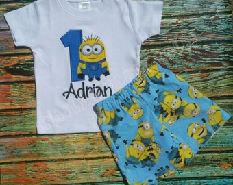 Custom Embroidery Minion Birthday Outfit in Blue & Red Shorts or Pants
