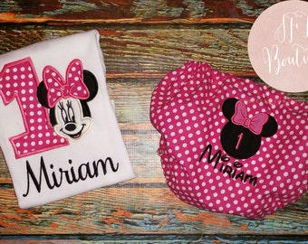 Miss Minnie Mouse Birthday Shirt and Bloomers Cake Smash Outfit