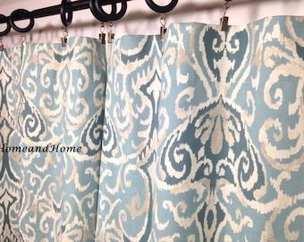 Ikat curtain Ikat drapery panels window curtains 50W 2 panels, Custom drapery, Spa blue panels