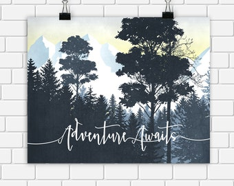 Adventure Awaits Printable Art Trees Mountains Blue Wall Decor Tree Forest Landscape Modern Wall Art 10x8 Instant Download Digital File