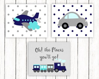 Nursery Printable Art Set Oh The Places You'll Go Dr. Seuss Quote Print Plane Train Automobile Wall Art 8 x 10 Instant Download Digital File