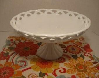 Vintage Milk Glass Cake Holder