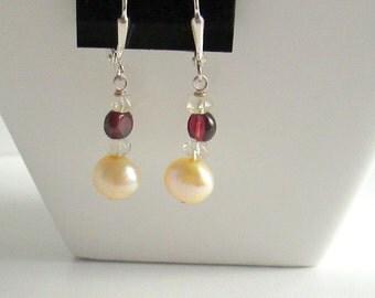 SALE! Clearance Freshwater Pearl Dangle Earrings Drop Earrings Garnet Earrings Sterling Silver Lever Back