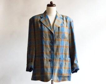 Vintage Blazer // Jacket // Oversize // Checkered //80s