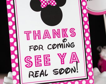 Thanks for Coming See Ya Real Soon Minnie Sign - Instant Download Minnie Mouse Party Sign - Printable Minnie Mouse Signs by Printable Studio