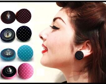 Polka Dot Fabric Earrings
