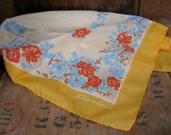 Fiorini Scarf - 1970s Scarf - Ladies Scarf - Boho Scarf - Floral Scarf - 1970s Fashion - Vintage Scarf - Boho Fashion - Festival Scarf