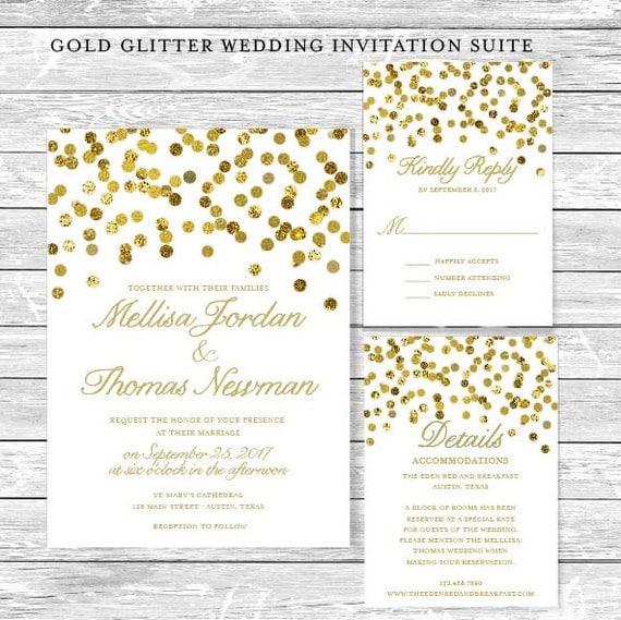 Diy Wedding Gift Registry : Gold Glitter(Faux) DIY Wedding Invitation Suite / Printable Digital ...