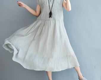 women cotton&linen dress/women comfortable skirts/women skirts/women long dress/