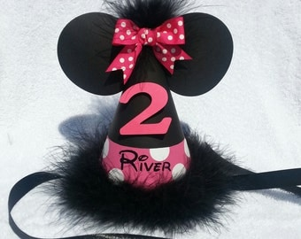 Minnie Mouse birthday party hat with name; dark pink; hot pink