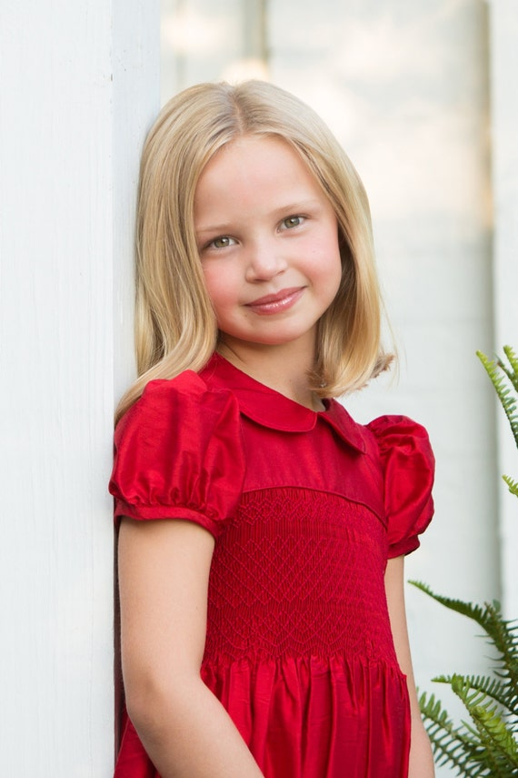 Red dress christmas dresses little girls sale red smocked party