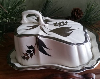 Vintage Sandland Ware,  Staffordshire,Silver Lustre, Butter Dish, Cheese Dish