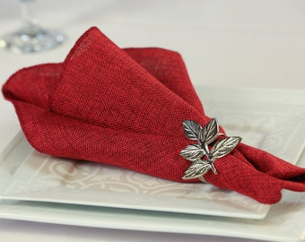 Faux Burlap Red Napkin