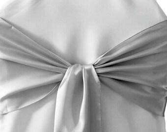 Light Silver L'Amour Satin Chair Sash