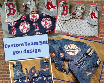 Ergo 360 OR Lillebaby 3-PC Bib/ strap drool pads set. Custom embroidered with your Teams logo and fabrics.  CUSTOM slot