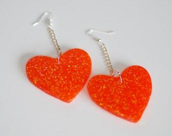 Sparkly Orange Heart Earrings
