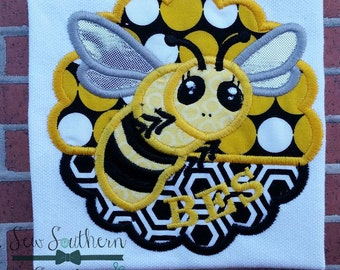 Bee Scallop Circle Applique ~ Bees~Yellow Jackets~Hornets Mascot ~ Instant Download